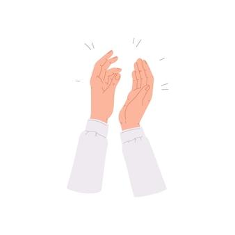 Menschliche handflächen klatschen in die hände und applaudieren für wertschätzung und anerkennung