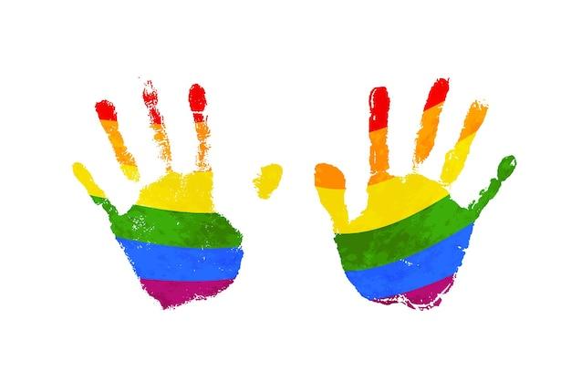 Menschliche handflächenabdrücke mit regenbogen-lgbt-flagge isoliert auf weiß