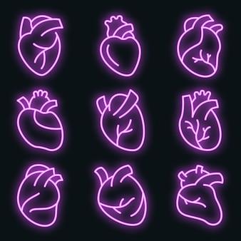 Menschliche herzikonen eingestellt. umrisse von menschlichen herzvektorsymbolen neonfarbe auf schwarz