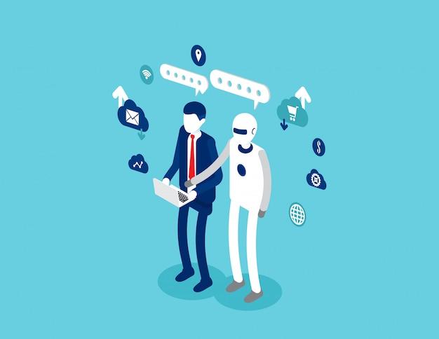 Menschliche interaktive technologie interaktiv. roboter und menschliches konzept