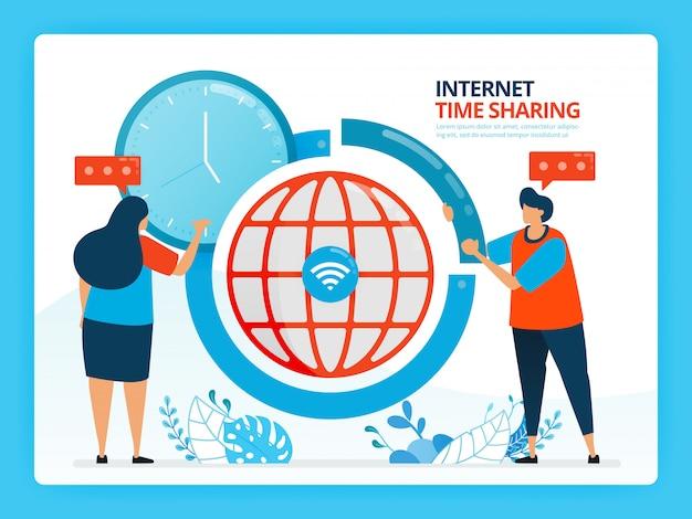 Menschliche karikaturillustration für zeitmanagement und internet-sharing-service.