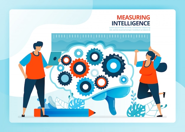 Menschliche karikaturillustration zum messen und entwickeln der intelligenz der bildung.