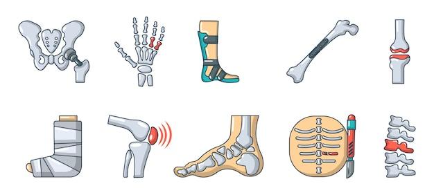 Menschliche knochen-icon-set. karikatursatz der vektor-ikonensammlung der menschlichen knochen lokalisiert