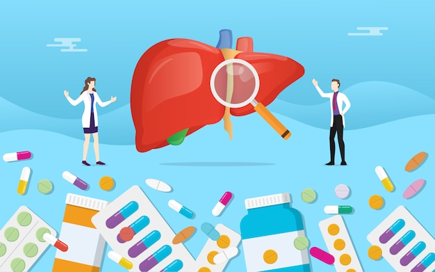 Menschliche lebermedizingesundheit mit pillendrogen-kapselbehandlung