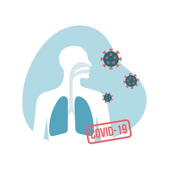 Menschliche lunge und covid19-virus vector flache abbildung männliche brustsilhouettecoronavirus-konzept