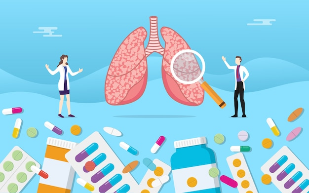 Menschliche lungenmedizingesundheit mit pillendrogen-kapselbehandlung