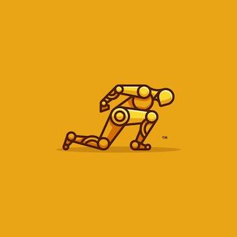 Menschliche roboter-läufer-charakter-vektor-schablone