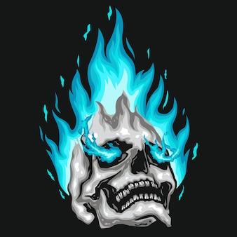 Menschliche schädelillustration des blauen feuers