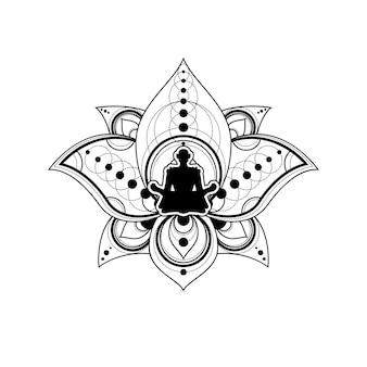 Menschliche silhouette mit lotus-blumen-vektor-vorlage. yoga-label isoliert mit weiblicher meditation im lotus-umriss auf weißem hintergrund. entspannung und wellness-logo-illustration