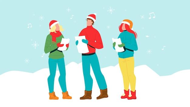 Menschliche singende weihnachtsfeier carol
