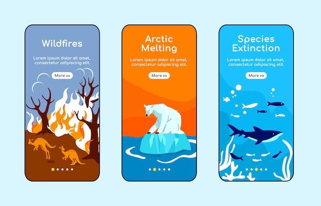 Menschliche umweltzerstörung onboarding mobile app bildschirm flache vorlage. walkthrough-website schritte mit zeichen. ux, ui, gui smartphone cartoon-oberfläche, falldrucke eingestellt