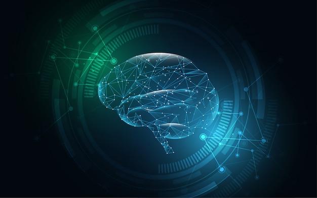 Menschlicher grafischer digitaler drahtpunkt und -linie des gehirns