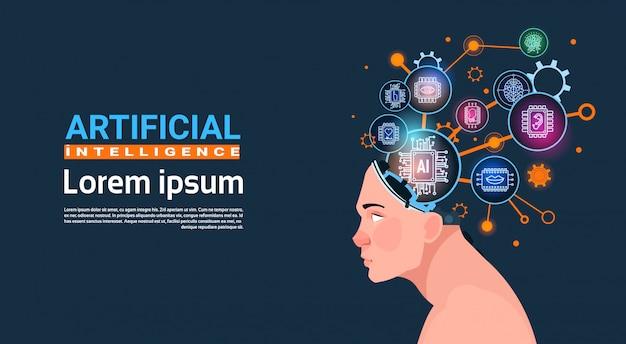 Menschlicher kopf mit cyber brain cog wheel und gangkonzept der künstlichen intelligenz-fahne mit kopienraum