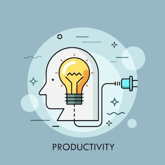 Menschlicher kopf mit glühbirne innen und netzstecker. konzept von produktivität, kreativität, ideengenerierung, effektivität, lebensenergiequelle.