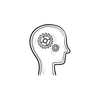 Menschlicher kopf mit zahnrädern hand gezeichneten umriss-doodle-symbol. gehirnaktivität und -funktion, denken und ideenkonzept. vektorskizzenillustration für print, web, mobile und infografiken auf weißem hintergrund