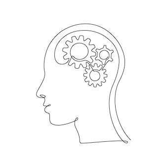 Menschlicher kopf mit zahnrädern im inneren in durchgehender einzeiliger zeichnung. konzept des kreativen gehirnprozesses und des technologischen fortschritts. zahnräder im menschlichen körper im dünnen linearen stil. doodle-vektor-illustration.