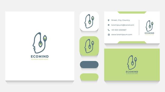 Menschlicher kopf und natur logo vorlage und visitenkarte