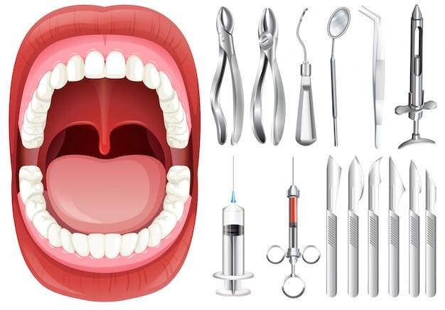 Menschlicher mund und zahnmedizinische ausrüstung