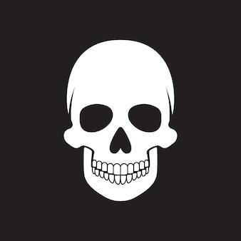 Menschlicher schädel auf schwarzem hintergrund. vektor-illustration.