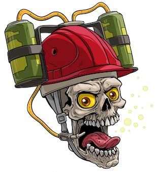 Menschlicher schädel der karikatur im roten trinkenden biersturzhelm