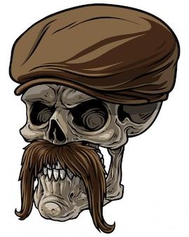 Menschlicher schädel der karikatur in emporgeragter kappe mit dem schnurrbart