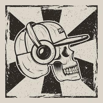 Menschlicher schädel in der kappe und mit kopfhörern hörend musik