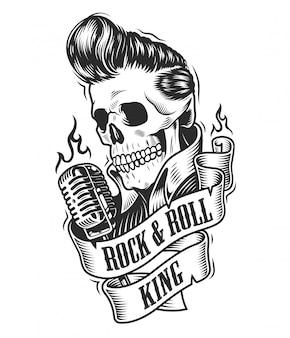 Menschlicher schädel in rock and roll.