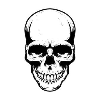 Menschlicher schädel isoliert auf weißem hintergrund. gestaltungselement für poster, karte, banner, t-shirt, emblem, zeichen. vektor-illustration