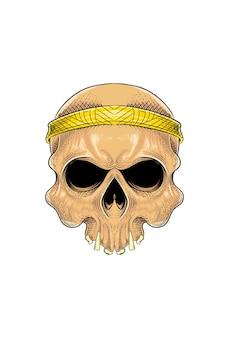 Menschlicher schädel mit bandana-vektor-illustration