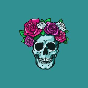 Menschlicher schädel mit bunten rosen