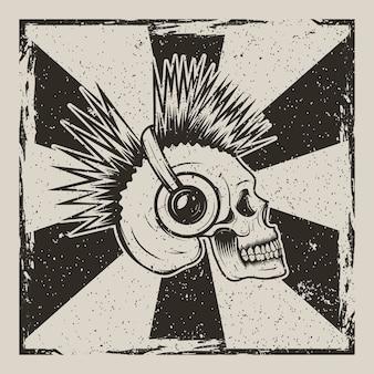 Menschlicher schädel mit den irokesen, die musik unter verwendung der kopfhörer hören