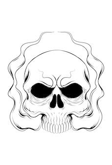 Menschlicher schädel mit einer rauchvektorillustration