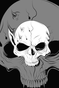 Menschlicher schädel mit geistervektorillustration