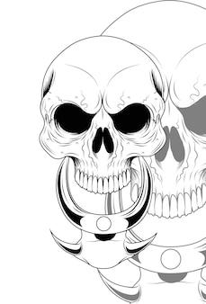 Menschlicher schädel mit halskettenzubehör-vektorillustration