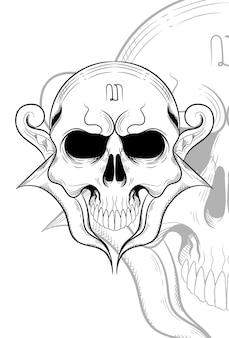 Menschlicher schädel mit keris-waffen-vektor-ilustration