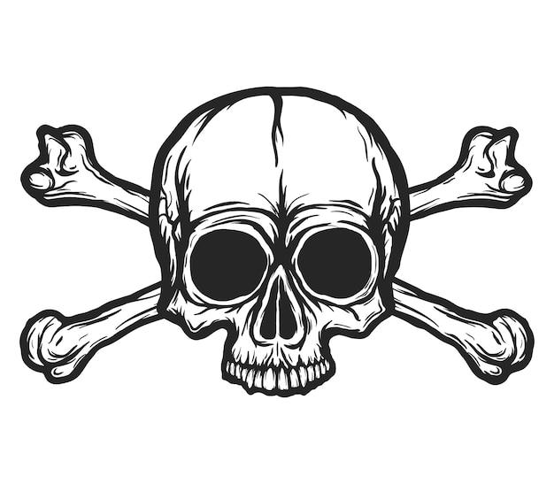 Menschlicher schädel mit knochenvektorschattenbild lokalisiert auf weiß. hand gezeichnete schwarzweiss-schädelillustration. tattoo- oder druckdesign. transparenter hintergrund.