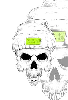 Menschlicher schädel mit mützen-hut-vektor-illustration