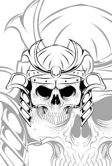 Menschlicher schädel mit samurai-hut-vektor-illustration