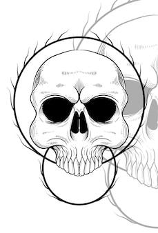 Menschlicher schädel mit wurzelgrafikillustration