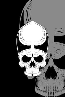 Menschlicher schädel und hut-vektor-illustration