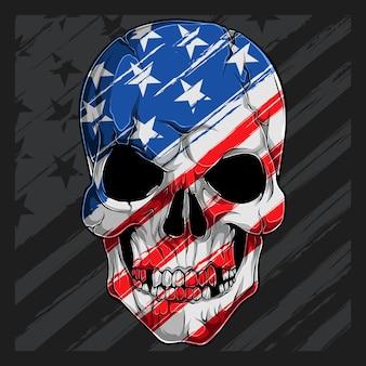 Menschlicher schädelkopf mit amerikanischem flaggenmuster. unabhängigkeitstag veteranentag 4. juli und gedenktag
