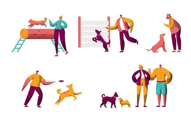 Menschlicher trainingshund im freien verbringen zeit zusammen eingestellt.