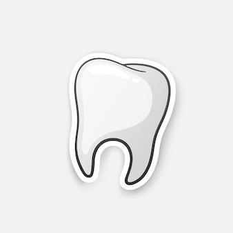 Menschlicher zahn mundhygiene cartoon-aufkleber im comic-stil mit kontur vektor-illustration