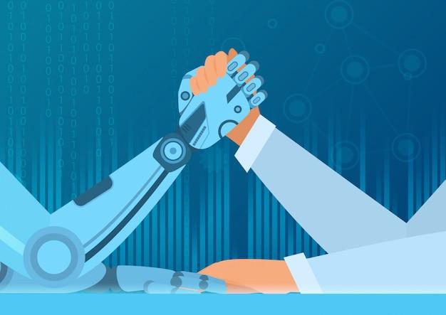 Menschliches armdrücken mit roboter. kampf zwischen mensch und roboter. illustrationskonzept der künstlichen intelligenz.