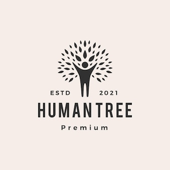 Menschliches baum-hipster-weinleselogo