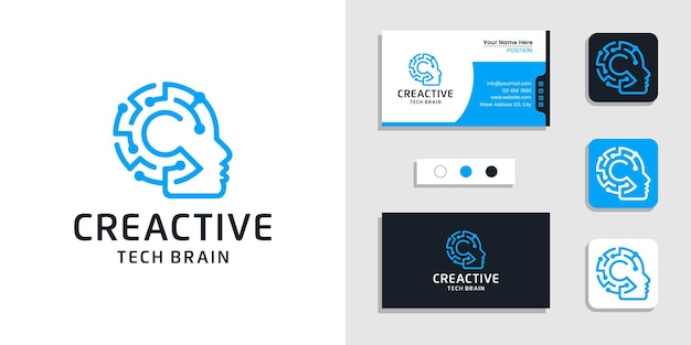 Menschliches gehirn logo künstliche intelligenz illustration und visitenkarten-design-vorlage