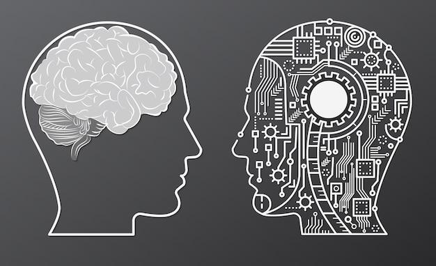 Menschliches gehirn mind head mit künstlicher intelligenz roboterkopf konzept illustration