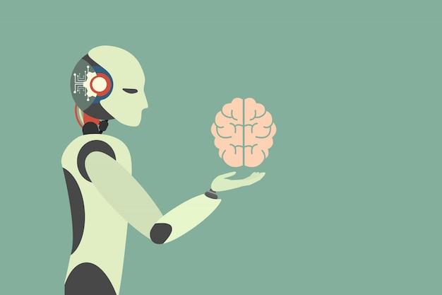 Menschliches gehirn. roboter, der illustration des menschlichen gehirns hält