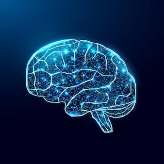 Menschliches gehirn. wireframe-low-poly-stil. konzept für medizin, hirntumor, neuronales netz. abstrakte moderne illustration des vektors 3d auf dunkelblauem hintergrund.