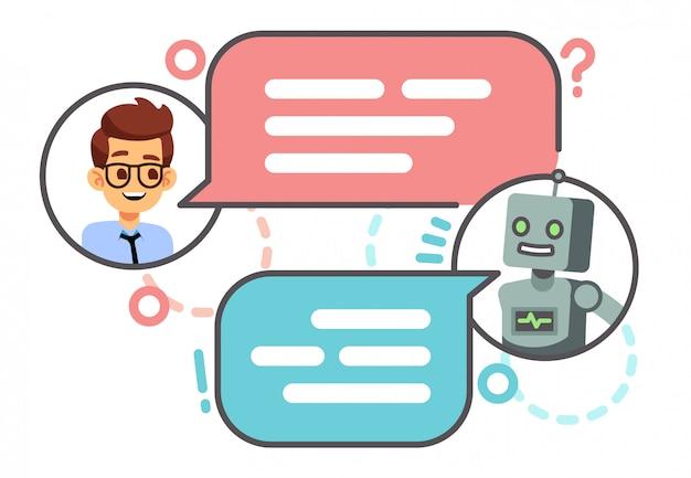 Menschliches gespräch mit roboter auf smartphone.